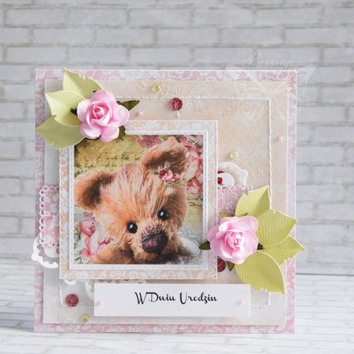 Dziecięca kartka z misiem - pink