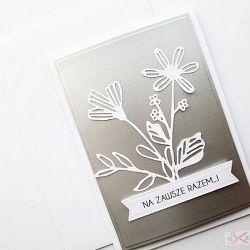 Kartka ŚLUBNA srebrno-biała