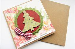 Kartka bożonarodzeniowa z zieloną choinką