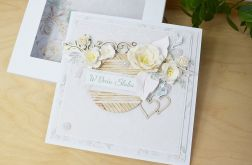 BOHO Biała kartka ślubna z pudełkiem