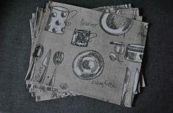 Podkładka pod talerz - z szarego lnu z nadrukiem