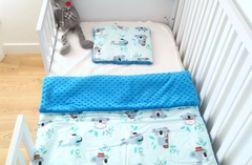 Miś koala/niebieski minky Kocyk + poduszka