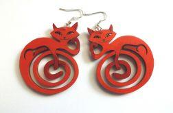 Kolczyki Kotki Zawinotki - jasnoczerwone