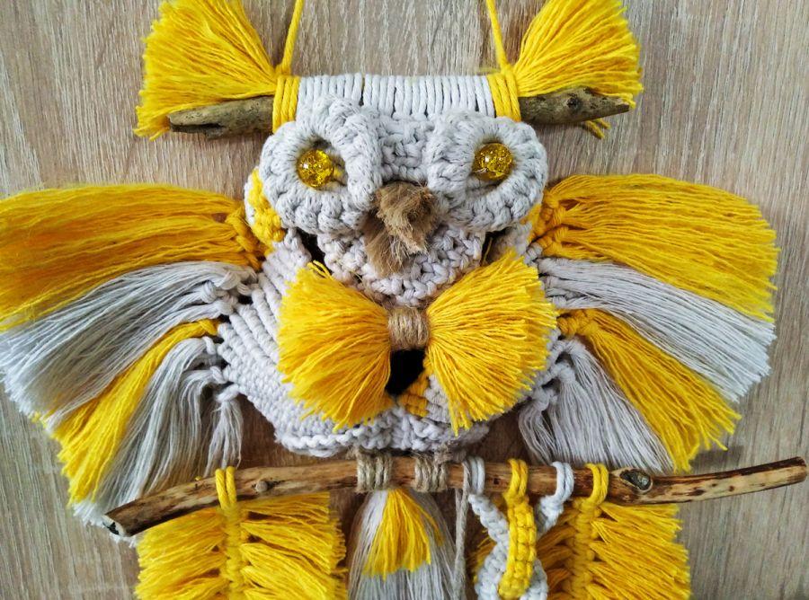 Sowa z makramy - żółta