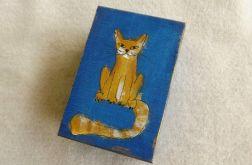 Pudełko malowane małe - Kotek w błękicie