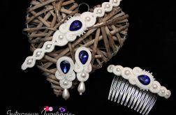 Biało kobaltowy komplet ślubny