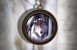Naszyjnik, medalion - Szary wilk - antyczny brąz - zdobiony