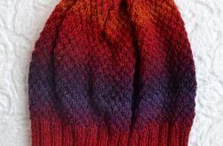 Czapka 100% wełna czerwony i fioletowy.