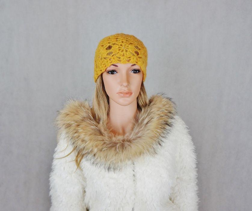 Miodowa szydełkowa czapka - Czapka szydełkowa
