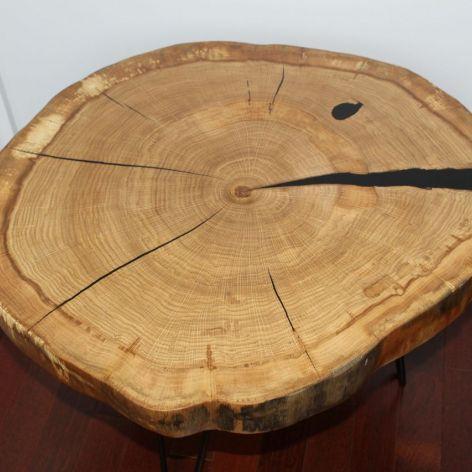 Stolik kawowy plaster drewna dąb żywica
