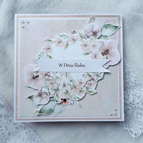Kartka ślubna kwiatowa