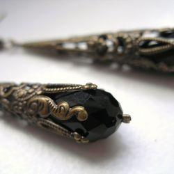 Kolczyki - czarne kryształki
