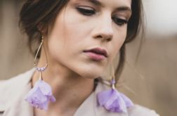 Szyfonowe klipsy kolczyki kwiaty lawendowe