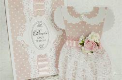 Sukienka kartka w pudełku na Chrzest