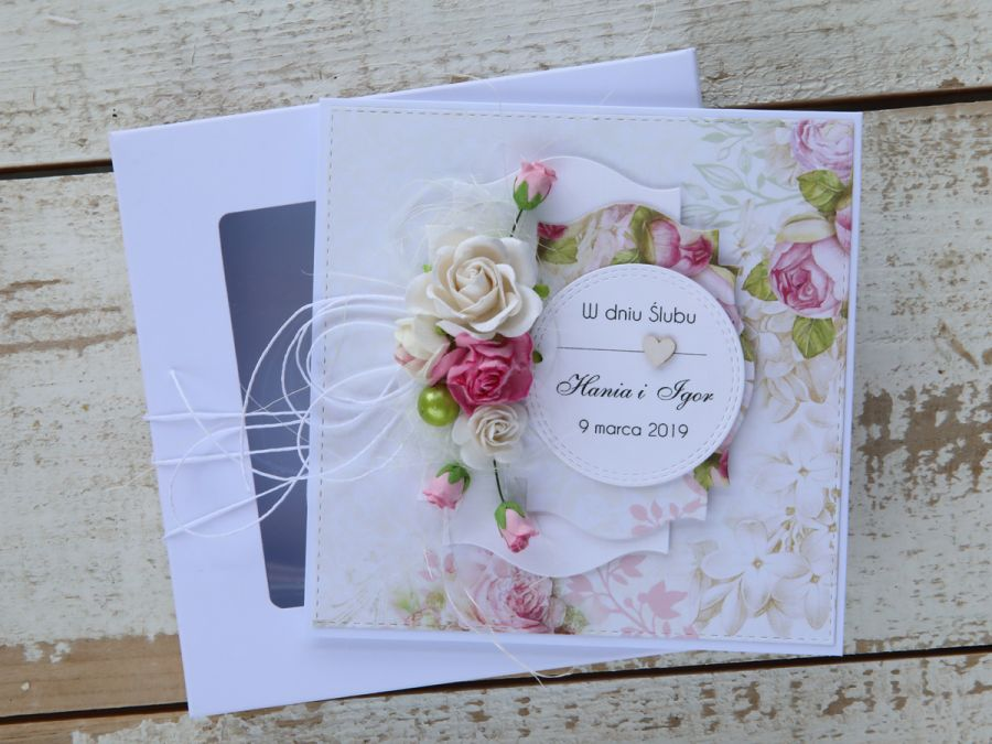 Kartka ślubna z personalizacją + pudełko a5