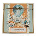 Kartka urodziny dziecka z królikiem i balonem - Kartka dla dziecka z królikiem i balonem