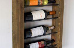 Półka loft na wino z drewna i stali