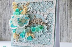 Biało-błękitna kartka ślubna