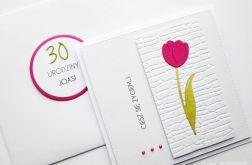 Kartka URODZINOWA z różowym tulipanem