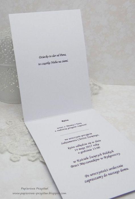 Zaproszenia Na Chrzest Z Tłoczeniem Białe1 Papierowa Przystań