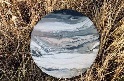 Duży okrągły obraz acrylic pouring