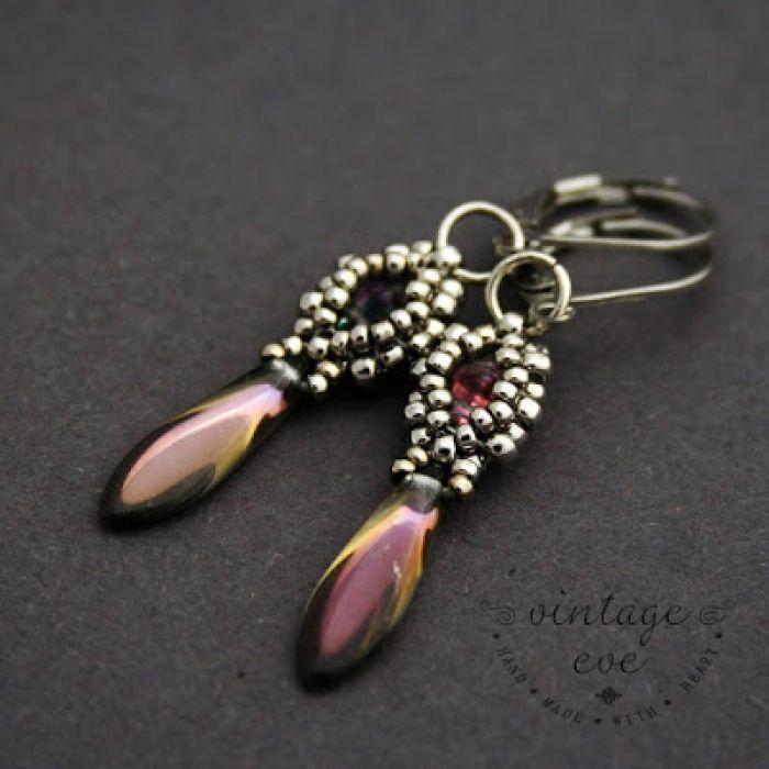 Kolczyki w fioletowej tonacji