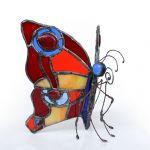 Ognisty motyl - kolorowy witrażowy motyl