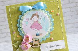 Dziecięca kartka z laleczką