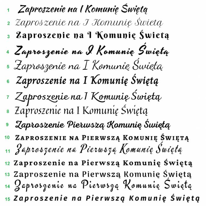 Zaproszenia na I Komunię Św. wz8 - Wzory czcionek
