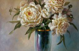 Kwiaty- Piwonie w wazonie, ręcznie malowany