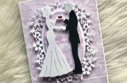 Kartka na ślub fioletowa pastelowa 05