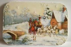 Zima - obrazek na drewnianej deseczce