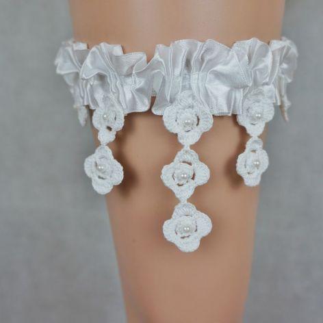 Podwiązka ślubna biała