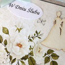 Kartka ślubn na ślub para młoda kwiaty kok