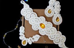 Ivory żółta biżuteria ślubna, komplet ślubny sutasz SWAROVSKI