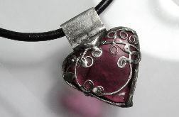 Wrzosowe serce - wisior