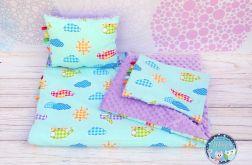 Zestaw kocyk i dwie poduszki SAMOLOTY BLUE