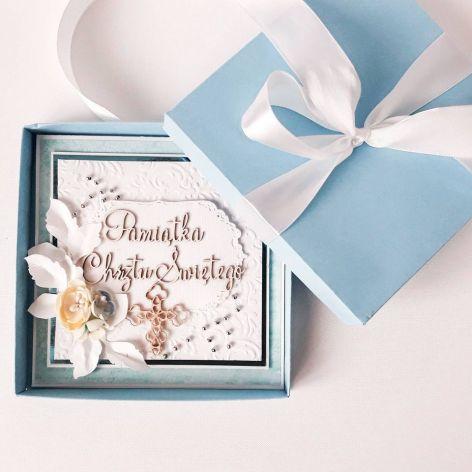 Kartka na Chrzest -pamiątka chrztu w pudełku