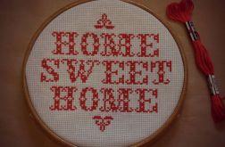 Ręcznie haftowany obrazek HOME SWEET HOME red haft krzyżykowy