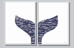 Grafika autorska, marynistyczna, zestaw 2 części, ogon wieloryba