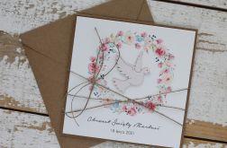 Kartka na chrzest z kopertą - życzenia i personalizacja 2a