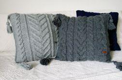 Grafitowa poduszka w warkocze 45 x 45 cm