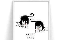 Plakat Crazy Cats - A3