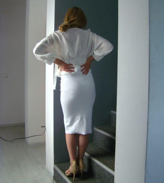 1ecb12a9506450 biała spódnica w prążek - tuba - BARSKA