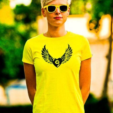 Koszulka RecyWinged Heart Żółta 27% LEPSZA