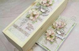 Komplet ślubny-kartka i pudełko na wino