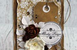 Kartka ślubna - biel i brąz