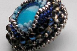 turquoise Venetian glass broszka