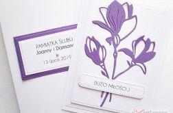 Kartka ŚLUBNA w bieli z fioletem
