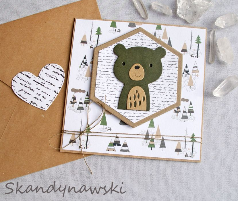 miś Skandynawski - kartka na roczek, urodziny